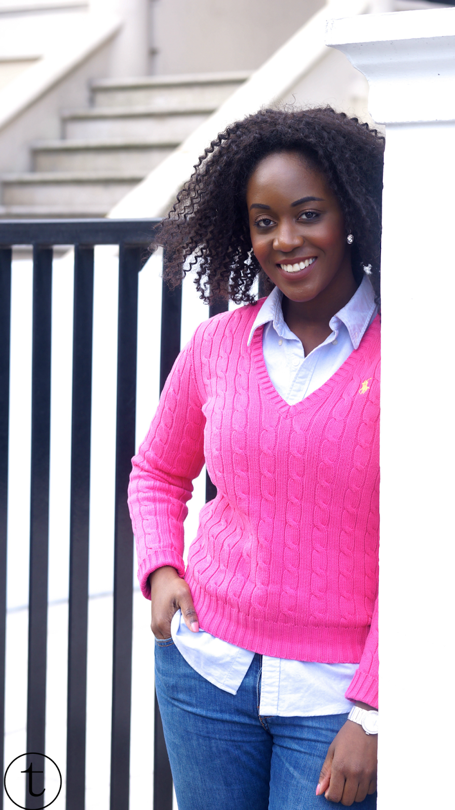 wearing pink ralph lauren jumper in notting hill uk outfit post