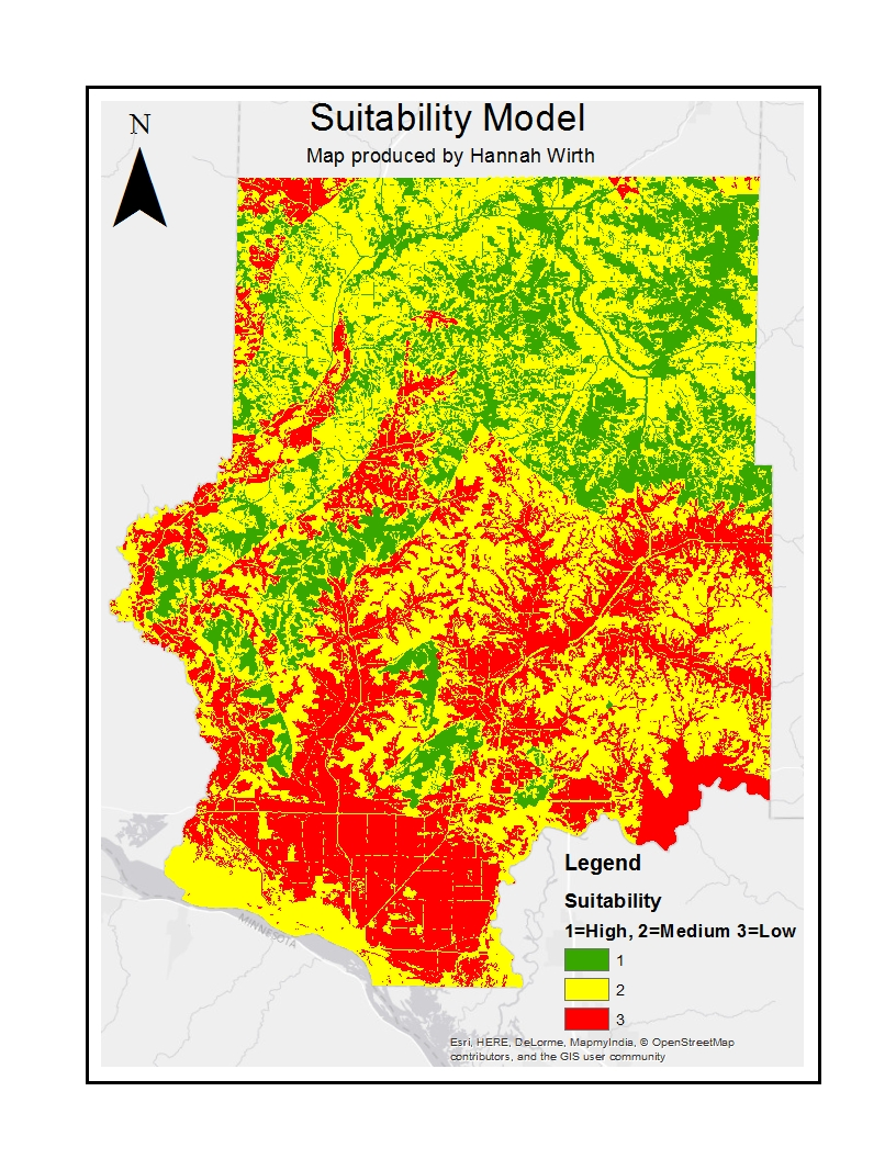 figure 1 this map is a suitability model for sand mining in trempealeau county