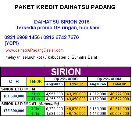 kredit daihatsu sirion padang 2016 paket