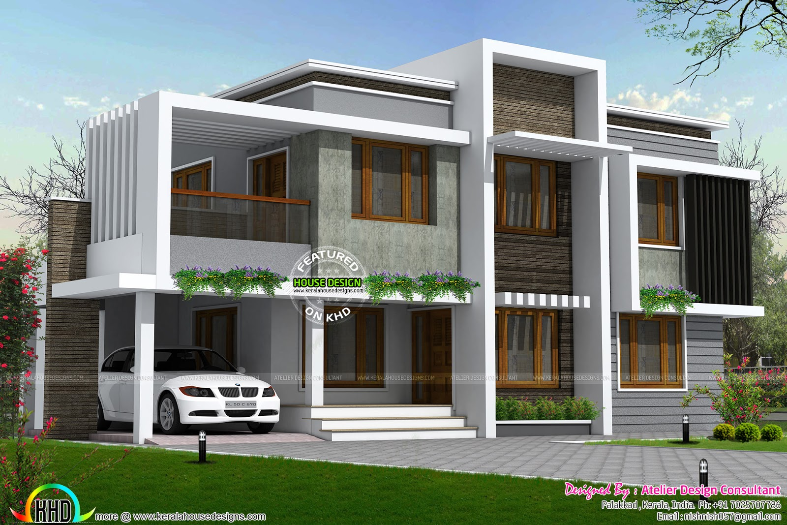 Simple type of contemporary home in 2558 sq ft kerala for Simple kerala home designs