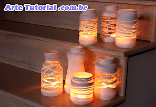Porta vela de vidro decorado