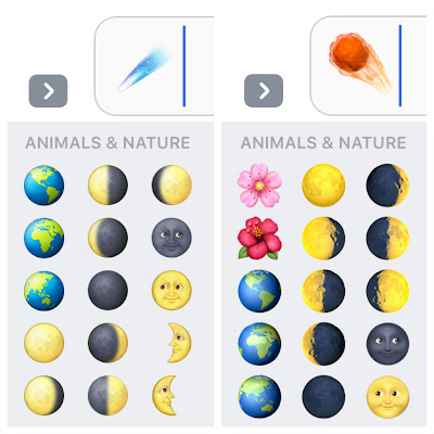 ios 10.2 comet and moon emoji