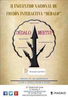 Cartel del Segundo Encuentro Nacional de Ficción Interactiva (24 sept, Madrid)