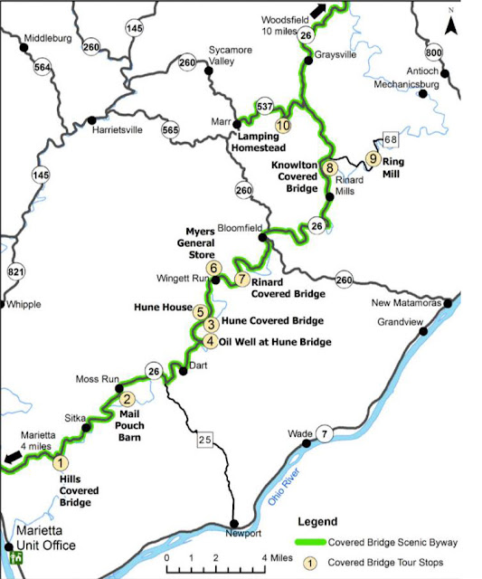 A map of all the covered bridges on Ohio State Route 26