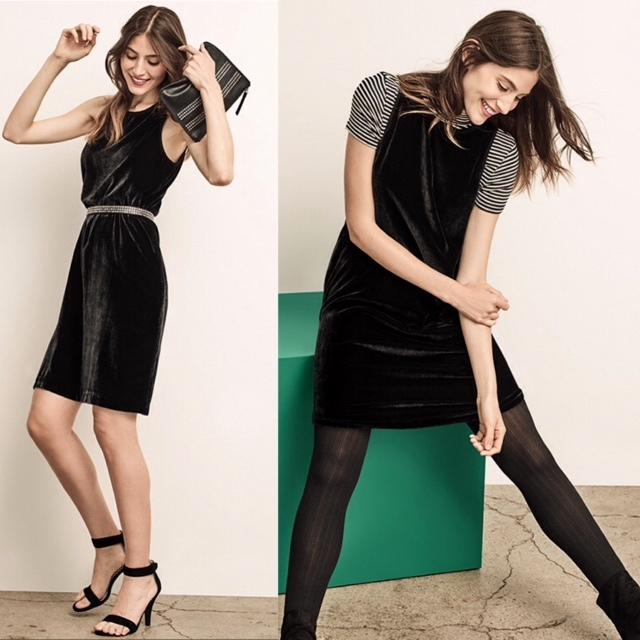 Black velvet dress from the Gap.