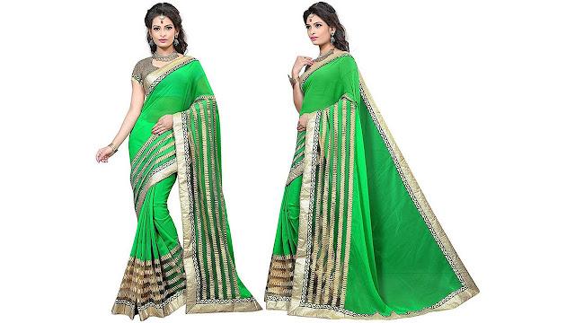 Prabhas Embellished Fashion Chiffon, Net Saree  (Green)
