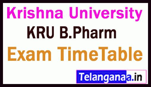 Krishna University B Pharm Exam Time Table