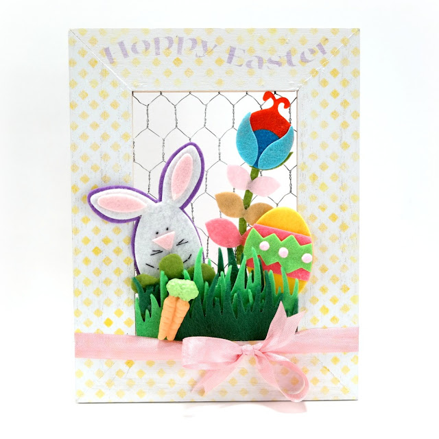 Happy-Easter-Home-Decor-Frame-with-Felt-Embellishments