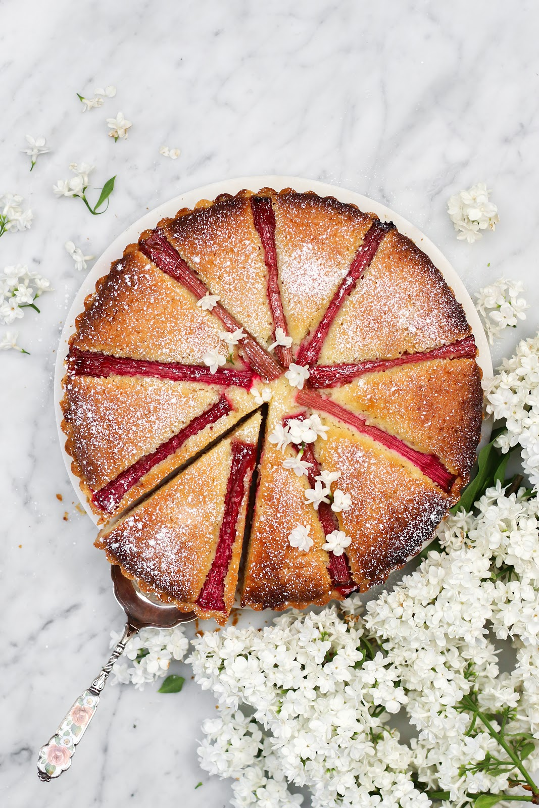 strawberry rhubarb bakewell tart