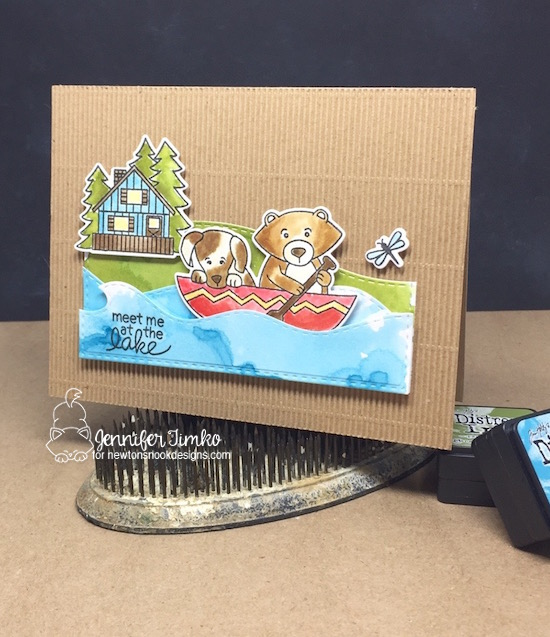 Meet Me at the Lake Card by Jennifer Timko | Winston's Lake House Stamp set by Newton's Nook Designs  #newtonsnook
