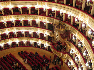 Inside Teatro di San Carlo, looking down  from above the royal box