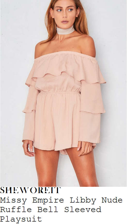 chloe-lewis-missy-empire-libby-nude-pink-long-tiered-bell-sleeve-off-the-shoulder-bardot-neckline-ruffle-frill-detail-draped-playsuit