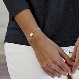 The White Company Solid Heart Silver Bracelet