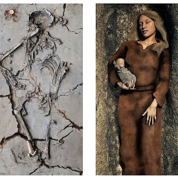 6,000-year-old skeletal remains of woman holding baby found in Netherlands grave