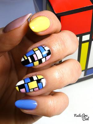 Nail Art géométrique pastel inspiration Piet Mondrian par Nails Arc en Ciel