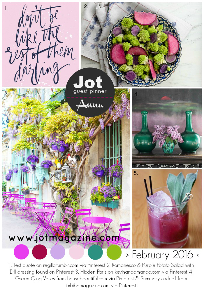 Jot Magazine Feb 2016 Mood Board