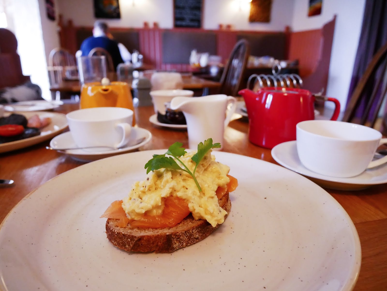 St Mary's Inn smoked salmon and scrambled egg breakfast