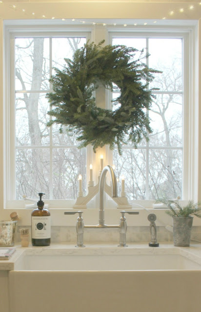 image result for farmhouse sink white kitchen natural wreath