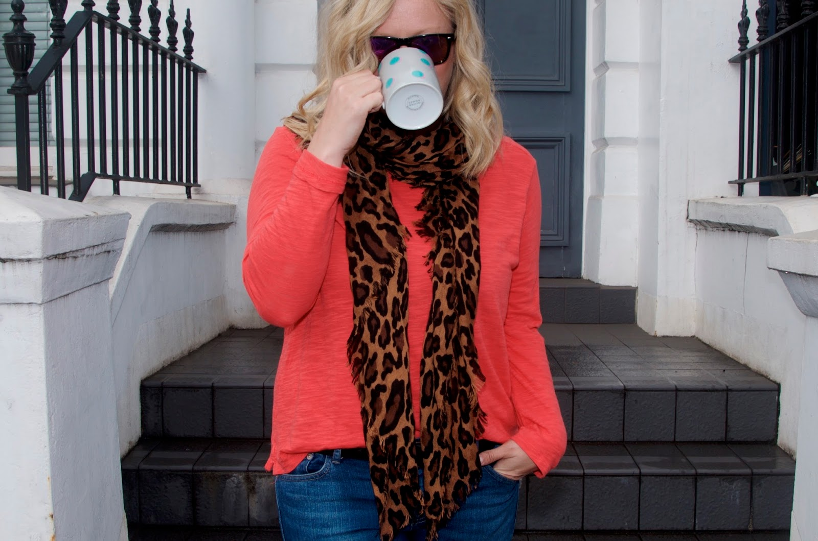 Leopard Print Scarf, Orange long sleeve t-shirt and jeans
