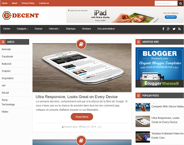 Decent is a 3 column black and orange contrast blogspot template for blogger users.