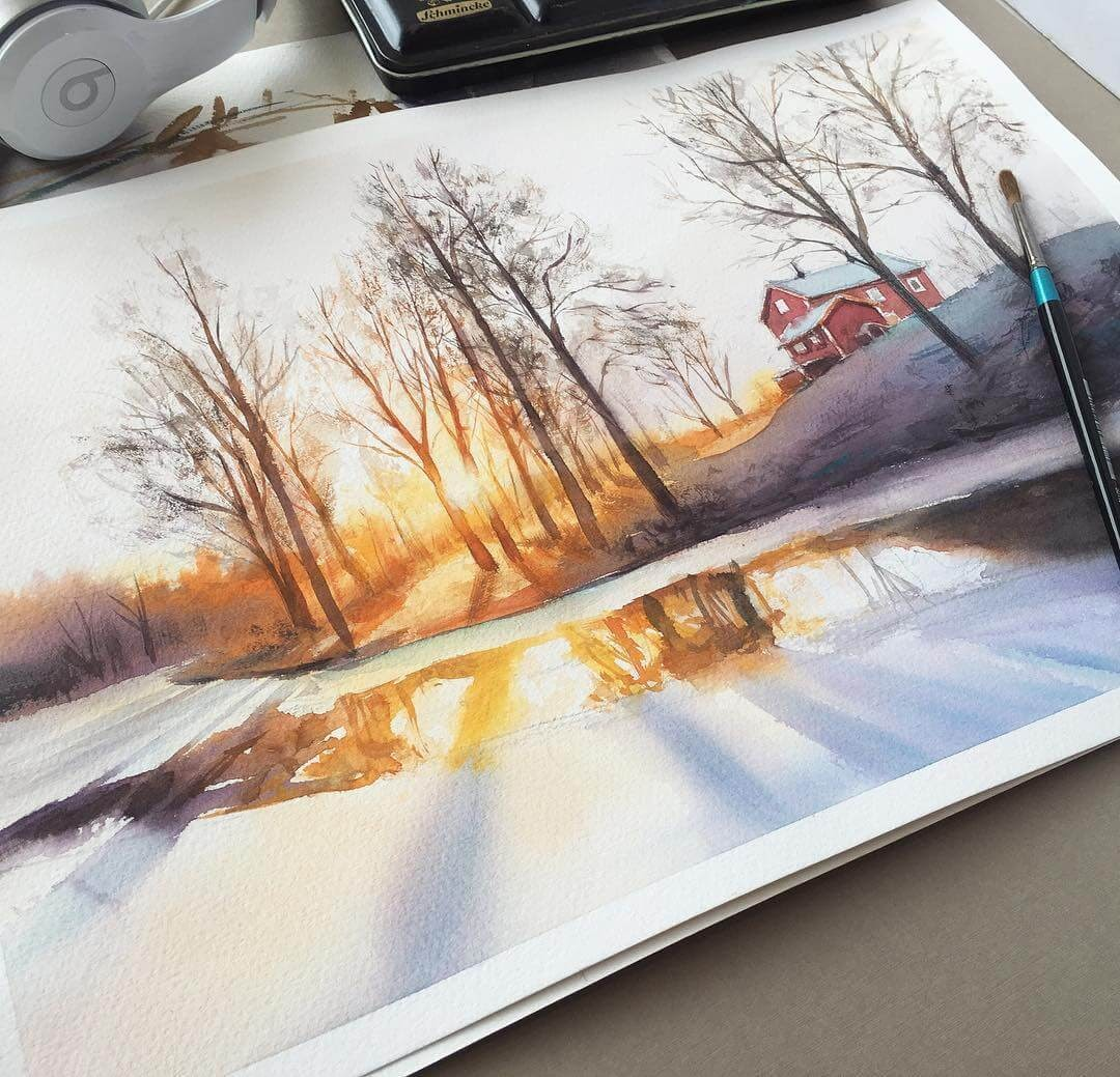 10-Sunrise-and-reflections-Leow-Fantastic-Mix-of-Watercolor-Paintings-www-designstack-co