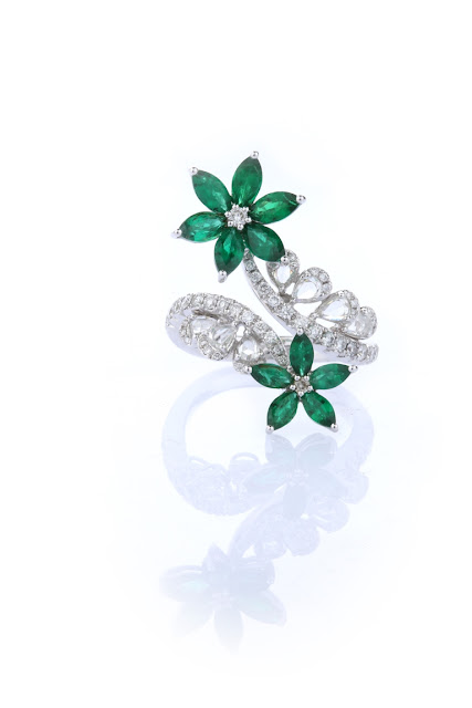 Entice Wedding Orchid _ floral ring with Emerald flowers