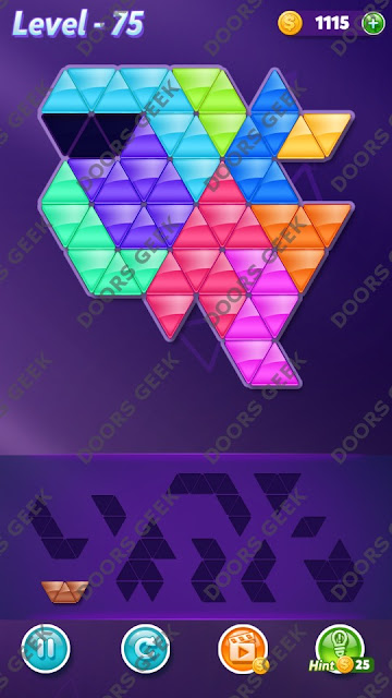 Block! Triangle Puzzle 10 Mania Level 75 Solution, Cheats, Walkthrough for Android, iPhone, iPad and iPod