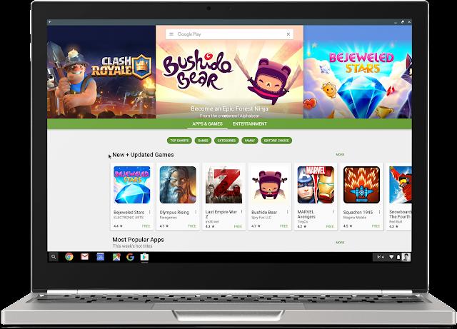 Google Play Store em um Chromebook.