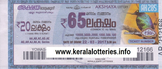 Kerala lottery result of Akshaya _AK-233 on 16 March 2016