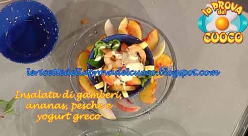 Insalata di gamberi ananas pesche e yogurt greco ricetta for Cucinare yogurt greco