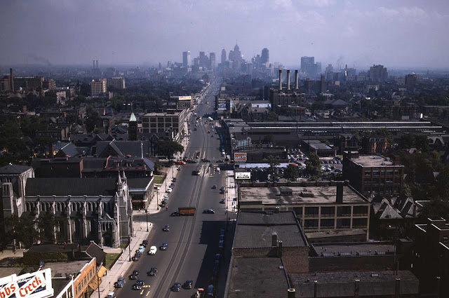Looking south from the Maccabees Building with the Detroit skyline in the distance, July 1942.