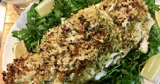 Baked Halibut With Jumbo Lump Crab And Gremolata