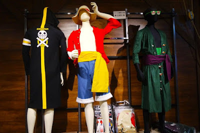 One Piece characters costumes at One Piece Mugiwara Store Tokyo Tower