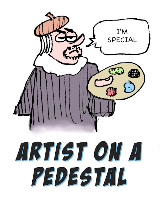 artist on a pedestal cartoon by Gerry Lagendyk