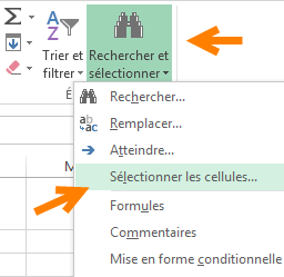 Menu Rechercher et Sélectionner dans Excel