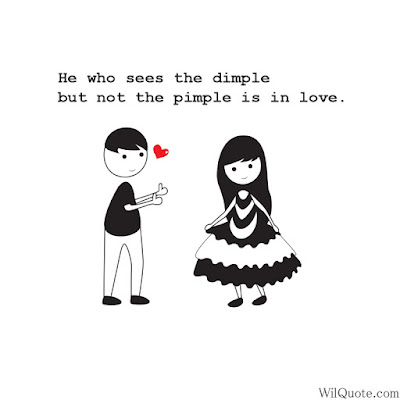 He who sees the dimple but not the pimple is in love.