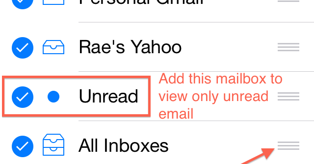 how do you find unread emails on iphone