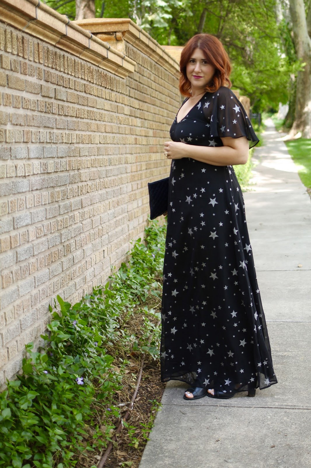 maxi dress, star print, red hair, rebecca minkooff quilted clutch