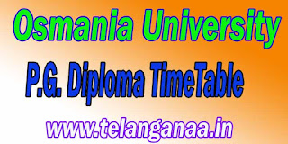 Osmania University P.G. Diploma Exam TimeTable Download