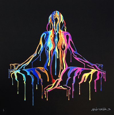 Image of screen print of painting by Canadian artist Shane Turner. Woman in lotus yoga meditation pose made of negative space and dripping colorful paint.