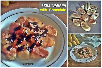 Fried Banana w/Chocolate Recipe @ treatntrick.blogspot.com