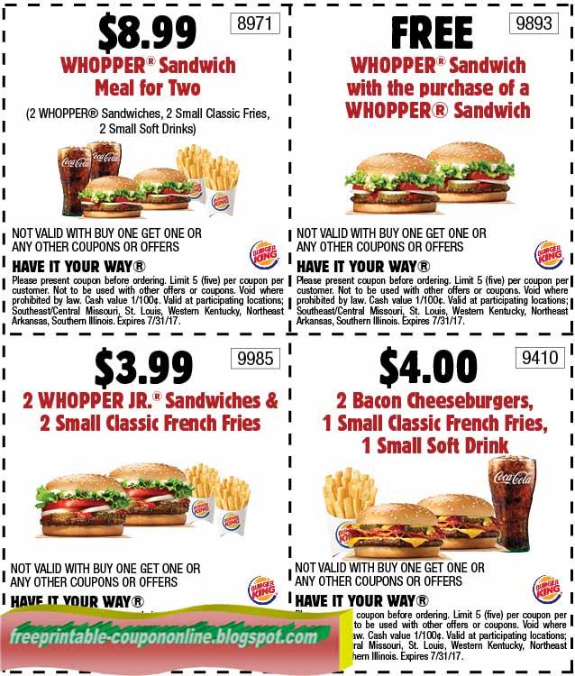 Burger king printable coupons april 2019