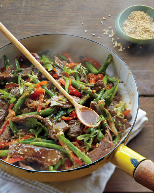 A Rainbow Of RecipesSteal And Green Bean Stir-Fry With Ginger