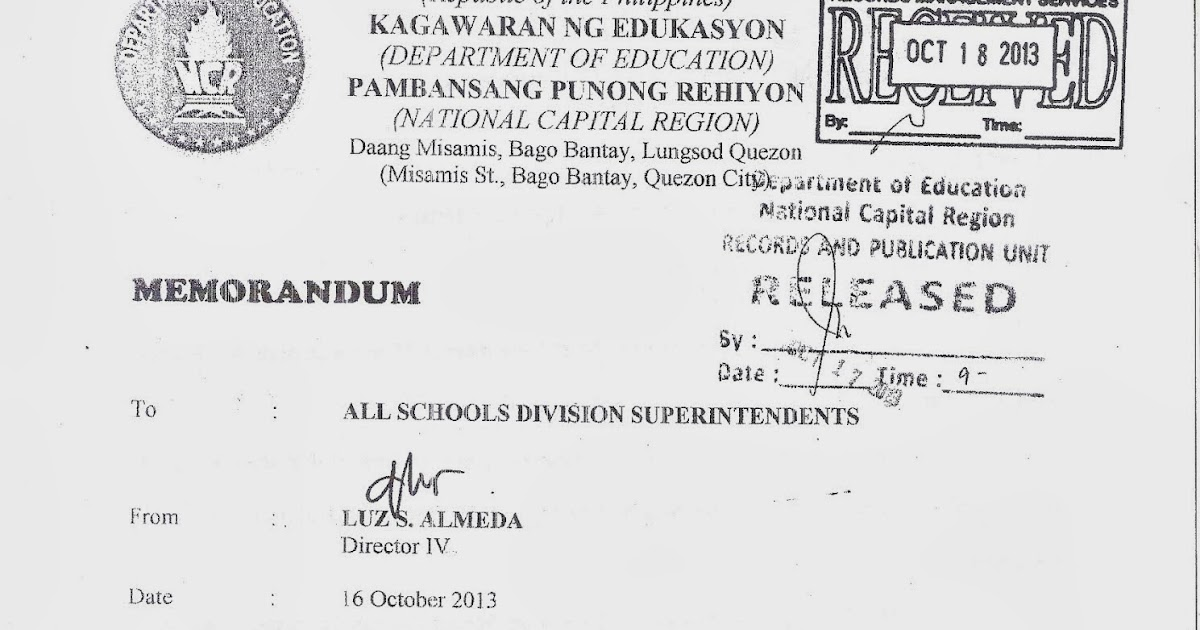 Department of Education Manila: Regional Memorandum