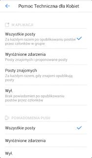 ustawienia powiadomień push i dźwięków w aplikacji grupy facebook