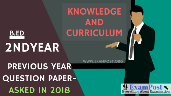 Previous Year Question Paper/Model Question Paper-B Ed 2nd Year
