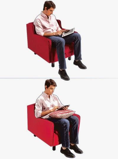 POSTURA NA FRENTE DO COMPUTADOR Ao usar o tablet: use um apoio ou uma almofada para elevar e evitar a flexão do pescoço