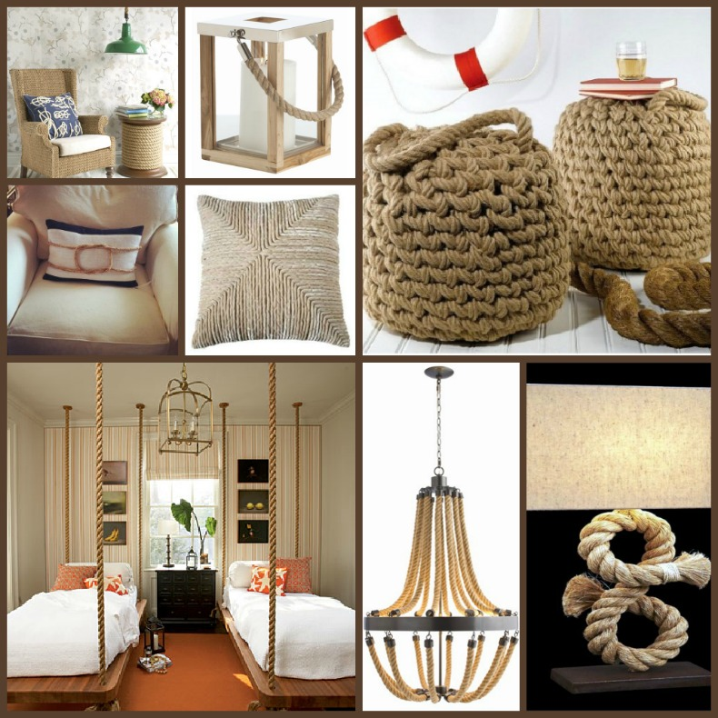 Coastal furnishings, accessories and lighting with rope