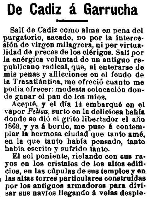 Fragmento del artículo «Cádiz a Garrucha», publicado en El Motín el 30-3-1911