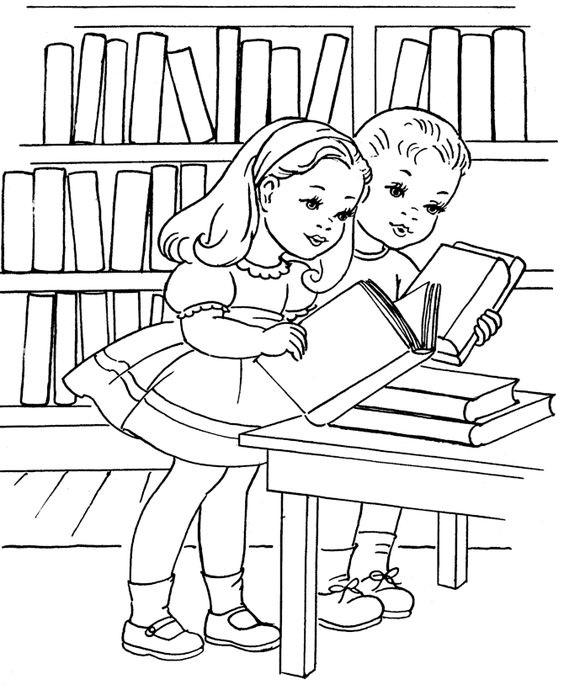 Tranh tô màu hai bạn đọc sách